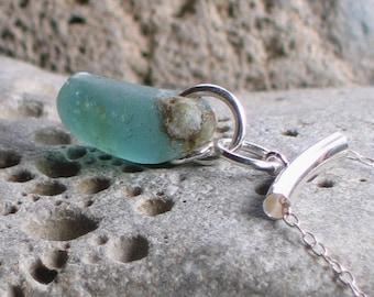 Bubbley Deep Seafoam Ocean Marine Sea Glass Sterling Silver Pendant Necklace  (715)