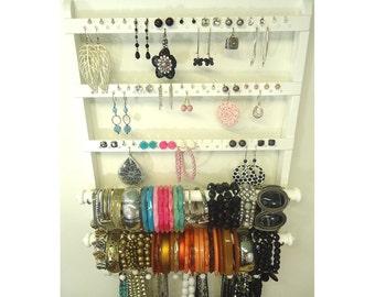 White Earring Holder, Bangle Bracelet Storage, Double Rods, Oak Wood, Hardwood Necklace Organizer, Gorgeous Wall Mount, Bracelet Holder