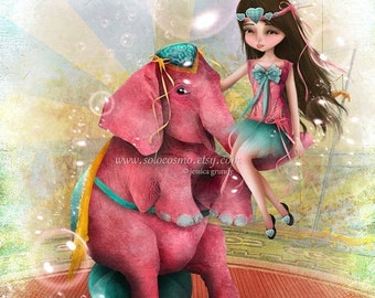 "SUMMER SALES EVENT Circus Art Girl and Pink Elephant ""Chelsea y Beatriz Senora del Elefante Rosa"" Medium Giclee Fine Art Print 8x10 or 8.5x1"