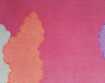 "KOFU - fabric from used Kimono,  Silk, Magenta Pink, clouds, 13""(33cm) X 26""(66cm)"