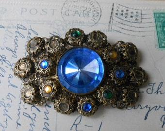 SALE! Victorian brooch muli layerd blue glass brass gorgeous pin c clasp Edwardian glass stones bezel set filligree antique pin upcycle