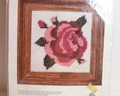 "Vintage Wonder Art Needlepoint Kit, Pink ""Supreme"" Cabbage Rose , 5 x 5 Shabby Floral Sampler Home Decor, Needlework Kit Craft Destash"