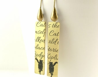 Cat Earrings - Rudyard Kipling Jewelry - Just So Stories - The Cat That Walked By Himself - Cat Jewelry - Cat Lover Gift