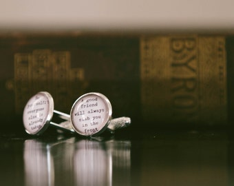 Oscar Wilde Cuff Links - Funny Literary Quotes - Gifts For Him - Groomsmen Cufflinks - Unique Gifts Under 25
