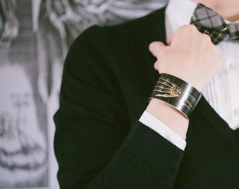 Xray Jewelry - Fingers Wrist X-Ray - Anatomy Cuff - Hand Arm Skeleton Brass Bracelet - Bones - Radiology Jewelry - Geekery Tech Gift