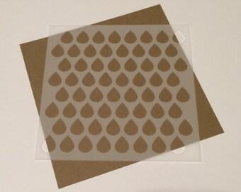 Square 5 inch stencil - Teardrops