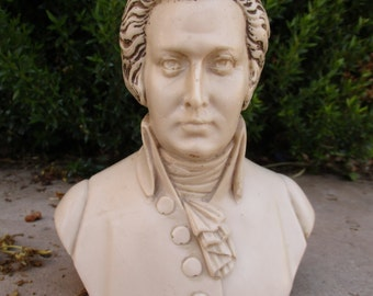 Vintage Mozart Bust Sculpture Made in Italy Composer Statue Sculpture Figurine