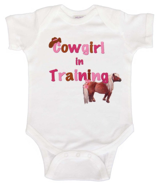 Girl Cowgirl Romper Pony Bodysuit Graphic Tshirts by Mumsy Goose Newborn Bodysuits to Girl tees Fun for Baby Shower