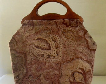 Rusty Burgundy Paisley Chenille Large Craft Project Tote/ Knitting Tote Bag - READY TO SHIP