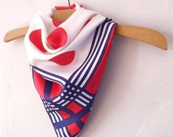 Vintage 70's ELSA SCHIAPARELLI original marine polka dot print scarf
