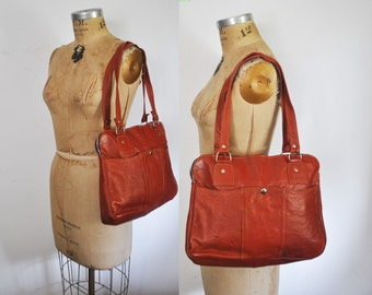 Brown Leather Tote / Market Bag / 1970s large purse