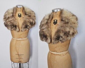 SILVER Fox Fur Collar / bridal wedding