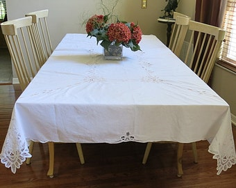 Battenburg Table Large Rectangle White Vintage 1980s Wedding Shower Linen