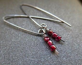 red garnet earrings. niobium jewelry. hypoallergenic jewellery