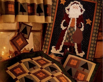 Quilting Pattern - Cabin Lights Wall Quilt Santa Quilt Pillow Coasters Valance