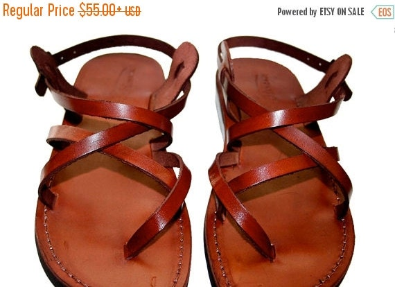 15% OFF Brown Triple Leather Sandals for Men & Women - Handmade Unisex Sandals, Flip Flop Sandals, Jesus Sandals, Genuine Leather Sandals