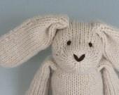 "Almond Rabbit - Alpaca and Wool - Hand Knit Eco Friendly Stuffed Animal - Classic Toy Bunny, 10"" tall"