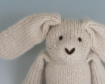 "Almond Rabbit - Alpaca and Wool - Hand Knit Eco Friendly Stuffed Animal - Classic Toy Bunny, 10"" tall"