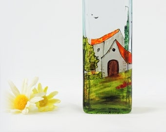 Painted oil bottle - Hand painted glass dispenser for oil, vinegar, soap or detergent - Village Provencal collection