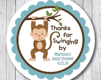 Thanks for Swinging By Personalized Monkey Baby Shower Stickers, Labels or Tags
