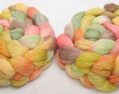 Hand painted 60 Polwarth, 20% BABY ALPACA, 20 Tussah Silk,special blend  roving fibre fiber felting spin