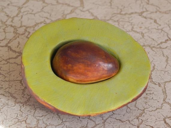 porcelain avocado half and pit original sculpture faux food