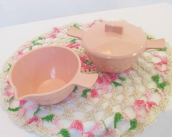 Melmac Pink Marcrest Cream Sugar Bowl Set Creamer Coral Pink Mid Century Kitchen Melamine Plastic Serving Pieces Chicago Table Ware