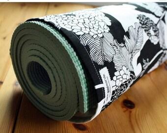 Handmade Yoga Mat Bag, Pilates, Yoga Mat Sack, Black, White, Flowers, Alexander Henry