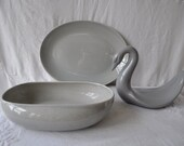 Gray MCM Pottery Serving Ware/Russell Wright and Homer Laughlin/Vintage 1950s/Serving Bowl and Platter/Sauce Boat And Pitcher/Swan