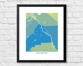 John Muir Trail in California Art Map Print.  Color Options and Size Options Available.  Map of John Muir Hiking Trail in California.