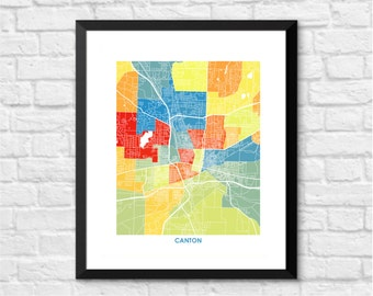 Canton Map Print.  Choose the Colors and Size.  Ohio Art.  Perfect Housewarming Gift.