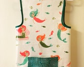 Art Smock Apron - Girls Love Mermaids white and turquoise Vinyl Apron - Fits 2T-4T