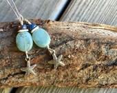Earrings aqua beads, shell and labraobrite