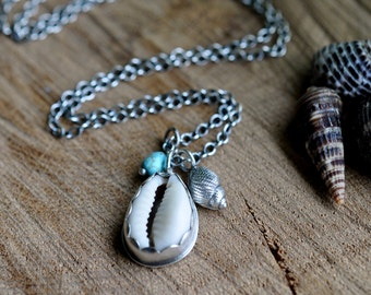Sterling Shell Turquoise Necklace, Oxidised, Sterling Silver Gemstone Charm Necklace - Shoreline Necklace No.8