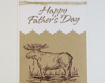 Moose Father's Day Card - fathers day moose - moose card - guy card - dad card - kraft card - masculine card - hand stamped card