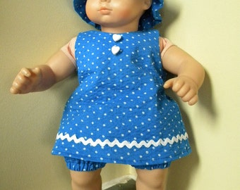 Blue dress, hat, and bloomers for 15 inch doll