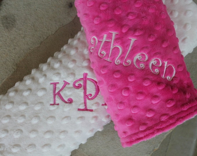 Soft Minky Blanket Personalized Monogrammed Chenille Minky Baby 28x30 with matching Lovie 17x17 in two colors of your color choice-SAVE