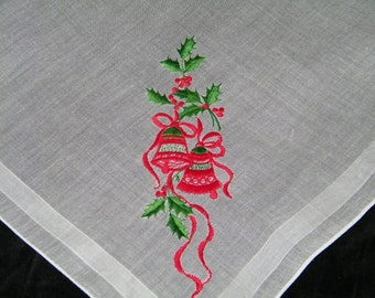 "Vintage Embroidered 13"" Christmas Bells Handkerchief or Doily, 9763"