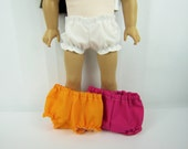 "18"" doll clothes, 3 pair bloomers, 18"" doll panties, 18"" doll underwear, Pink white orange, toys dolls accessories, handmade doll clothing"