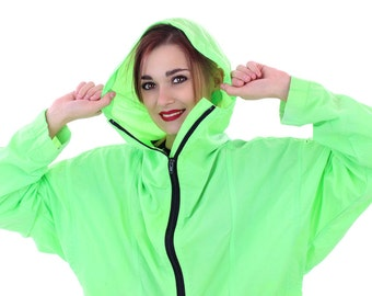 90s Neon Windbreaker Pullover Jacket 80s Vintage Neon Green Hooded Hoodie Black Zipper 1990s Workout Running Surf Retro Unisx Large L M