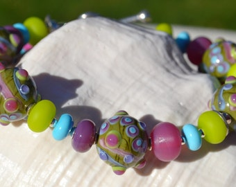 MY HAPPY PLACE-Handmade Lampwork and Sterling Silver Bracelet