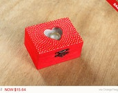Sale -  Red Wedding Ring Bearer Pillow Box - Pillow Alternative - Jewelry Box