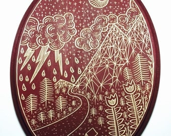 ON SALE NOW!!! Hand Carved Camp Scene Wall Art / Woodcut