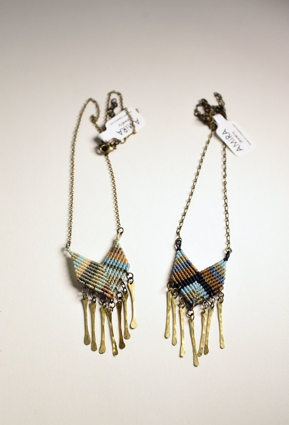 Chevron with Metal Fringe Necklace
