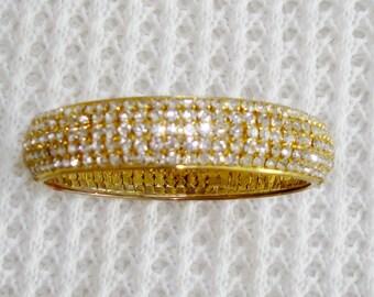 Sparkling Clear Rhinestones Gold Tone Bangle Bracelet