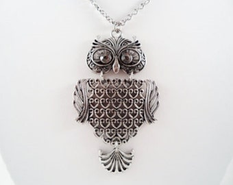 Antique Silver Owl Pendant Necklace