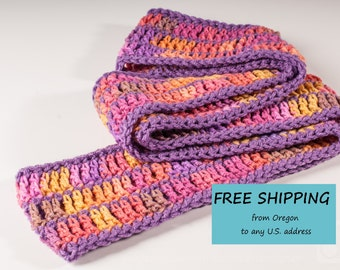 Infinity Scarf, Medium Purple and Melon Berry, Ready to Ship Summer CLEARANCE EVENT