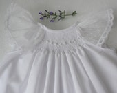 READY TO SHIP in Size 0-3 mos and 3-6 mos only, Smocked Baby Dress, Smocked Christening dress, smocked christening gown, Baptismal Dress