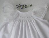 Smocked Baby Dress, Smocked Christening dress,  in white or ivory/ Hand smocked christening gown / Baptismal Dress