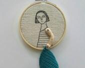 Hand embroidery hoop art textile art fiber art - Crochet girl
